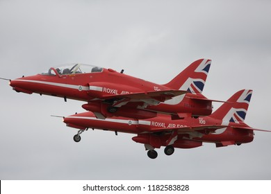Biggin Hill,UK,August 18th,2018,The Red Arrows display at the Biggin Hill Festival of Flight over Biggin Hill Airport in Kent