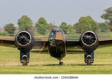 Biggleswade, UK - 6th May 2018: A Bristol Blenheim Mk1 belonging to the Aircraft Restoration Company, Duxford, UK. taxiing on airfield