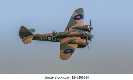 Biggleswade, UK - 6th May 2018: A Bristol Blenheim Mk1 belonging to the Aircraft Restoration Company, Duxford, UK. in flight
