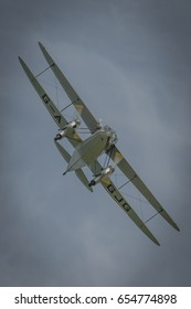 Biggleswade, UK - 7th May 2017: Vintage De Haviland Dragon Rapide  in flight