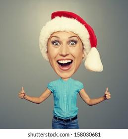 bighead woman in santa hat over grey background
