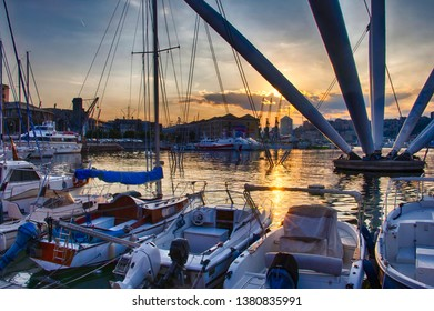 The Bigo in the Old Port at sunset, Genoa, Liguria