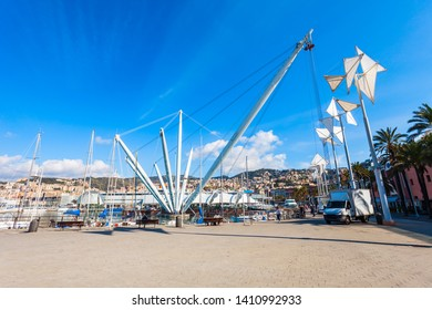 Bigo Panoramic Lift in Genoa port with boats and yachs. Genoa or Genova is the capital of Liguria region in Italy.