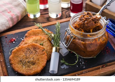 Bigos with  potato pancakes. Tasty bigos woth garnish