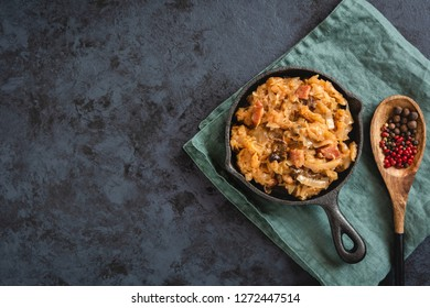 Bigos-traditional Polish dish of finely chopped sauerkraut and fresh cabbage with meat, mushrooms and sausage. The dish is also traditional for Belarusian, Ukrainian and Lithuanian cuisine.