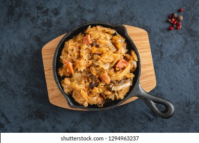 Bigos-traditional Polish dish of finely chopped sauerkraut and fresh cabbage with meat, mushrooms, and sausage. The dish is also traditional for Belarusian, Ukrainian and Lithuanian cuisine.