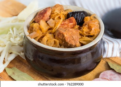 Bigos-traditional Polish dish of finely chopped meat, mushrooms, and sausage with sauerkraut and shredded fresh cabbage. The dish is also traditional for Belarusian, Ukrainian and Lithuanian cuisine.