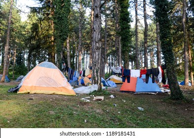 Bihac, BiH, September 01, 2018 - Migrants and refugees live in hard condition in camp in Bihać.   European migrant crisis. Migrants using Balkan route through Bosnia  to reach EU