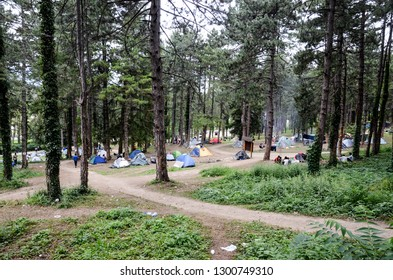 Bihac, BiH, September 07th 2018 Camp for Refugees and migrants. The European migrant crisis. Balkan Route. Migrants using Balkan route through Bosnia and Herzegovina to reach EU. Tents in park.