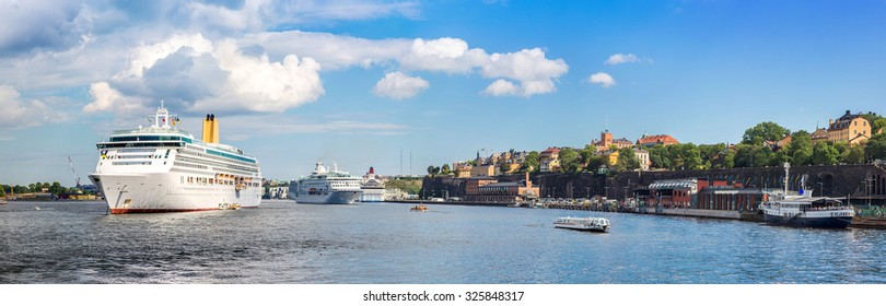 Biig Cruise Ship in Gamla Stan, the old part of Stockholm, Sweden in a summer day