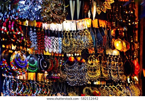 Bijouterie on the flea market in New Delhi, India.