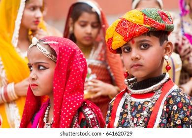 Bikaner, India, 14th January 2017 -  Rajasthani children dressed up at the Bikaner Camel Mela in Rajastan, India.