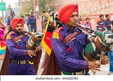 Bikaner, India, 14th January 2017 -  Musicians playing bagpipes at the Bikaner Camel Mela in Rajastan, India.