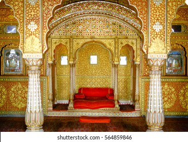 BIKANER, INDIA - DEC 10: Maharaja's resting room with arches in gold patterns inside 16th century Junagarh Fort on DEC, 2016. The 5.28 hectares large Fort precinct is studded with palaces, temples