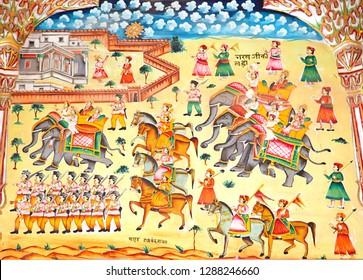 Bikaner, India - December 25, 2012: Fresco of army, Laxmi Nath Temple
