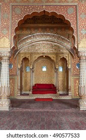 BIKANER, INDIA - MARCH 26, 2012: Resting room of Maharaja inside Junagarh Fort. Anup Mahal, Junagarh Fort, Bikaner, Rajasthan, India