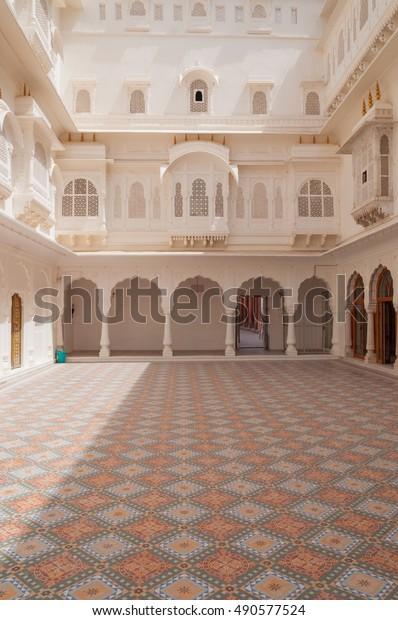 BIKANER, INDIA - MARCH 26, 2012: Courtyard at Junagarh Fort, Bikaner.  Bikaner Palace at Junagarh Fort, Bikaner, Rajasthan, India.