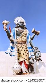 Bikaner, India - November 24, 2018: Popular Goddess Kali idol, in a temple in Bikaner. Goddess Kali is known as the Redeemer of the universe.