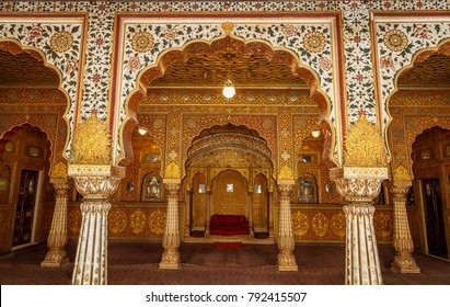 Bikaner, Rajasthan, India, December 15,2017: Junagarh Fort view of view of the Private Audience Hall in Anup Mahal with intricate gold carvings.