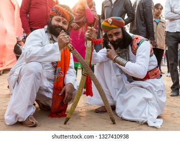 Bikaner, Rajasthan/India - Jan 2019: Indian Man in traditional Attire