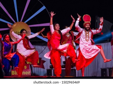 Bikaner, Rajasthan/India - Jan 2019 : Punjabi Artists performing punjabi bhangra dance in group at Bikaner Camel Festival