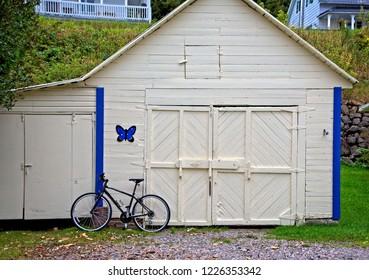 Bike Against Garage in Saguenay, Quebec, Canada