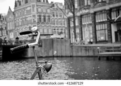 bike in Amsterdam, black and white