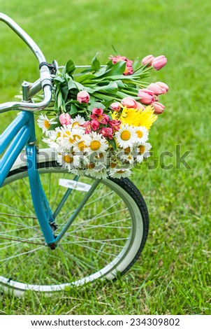 Bike basket of flowers in spring with room for copy space.