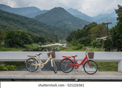The bike and beautiful landscape of Kiriwong village located at Kamlonsubdistrict, Laan Saka district, Nakhon Si Thammarat province.