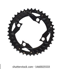 Bike chainring component with teeth for bikes isolated on white background