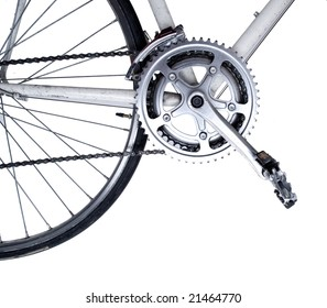 Bike close up on gear wheel, pedal and wheel