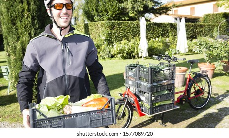 bike courier delivery at your home fresh vegetables with cargo bike