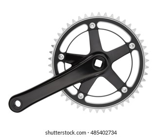 Bike crank set and chain ring isolated on white