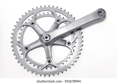 Bike crank set and chain ring on white background