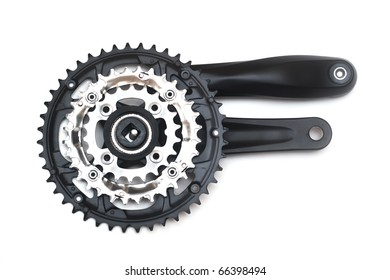 Bike crankset and chainring isolated on white