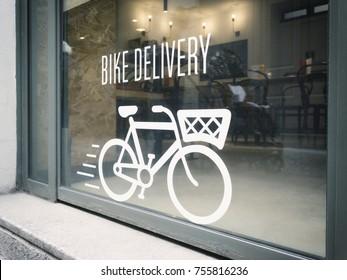 bike delivery concept on urban showcase