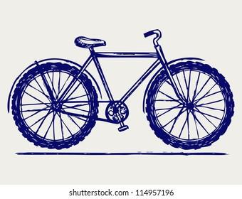 Bike. Doodle style. Raster version