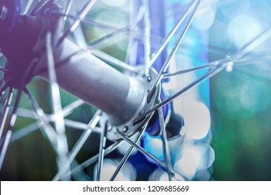 Bike front hub and spokes close up