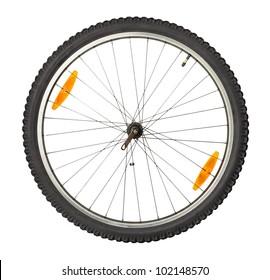 bike front wheel against white background