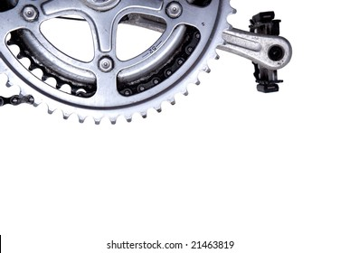 Bike gear wheel and pedal on white background