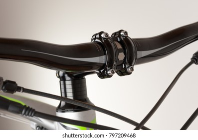 Bike handlebars, close up view, studio photo.