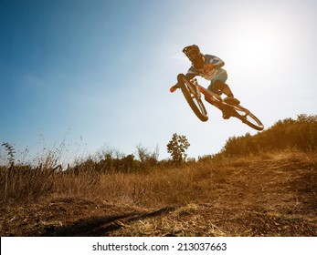 Bike jump. Downhill mountain biking.