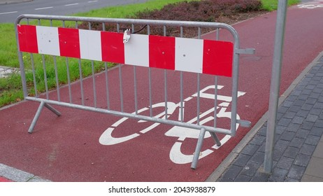 Bike Lane Closed with Metal Red and White Road Barrier