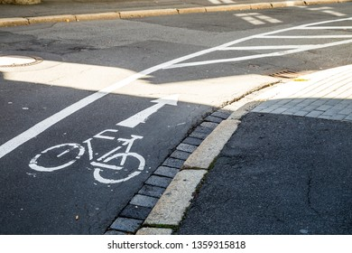 Bike lane marking on a road