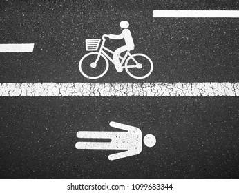 Bike Lane and People walk way street sign symbol top view