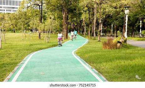 Bike lane signs painted onto a green bike lane.