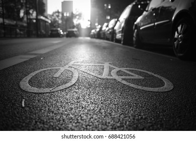 Bike lane in sunrise