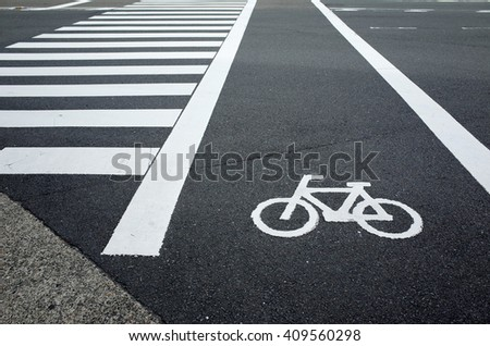 Bike Lane Symbol Crosswalk Stock Photo Edit Now 409560298