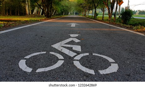 bike lane symbol,bike lane in the garden,sightseeing and ride bike in the park,