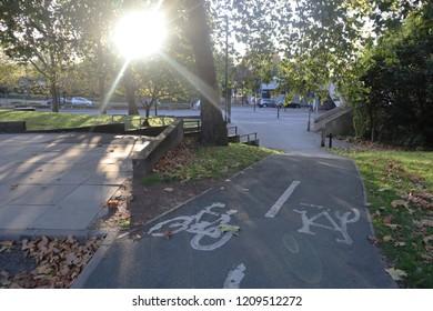 Bike lane in Wandsworth at sunset.